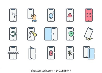 Mobile phone repair related color line icon set. Smartphone protection colorful linear icons. Cell phone problems flat color outline vector signs and symbols collection.