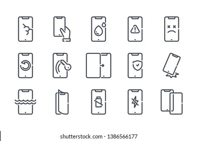 Mobile phone repair related line icon set. Smartphone protection linear icons. Cell phone problems outline vector signs and symbols collection.