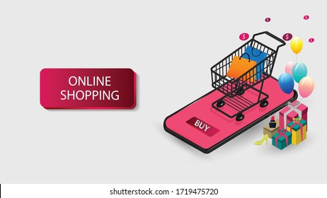 Mobile phone represent of front of shop store.Shopping Online on Website or Mobile Application  Concept Marketing and Digital marketing.