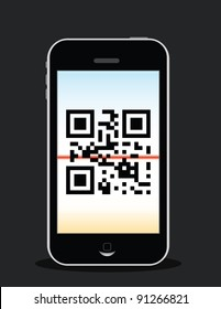"mobile phone scanning qr code, qr code reads ""love"""