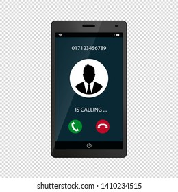 Mobile Phone Screen Call Concept Incoming Call - Vector Illustration - Isolated On Transparent Background