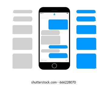 mobile phone  screen messaging text boxes empty bublbes anonymous chat design on smartphone  screen