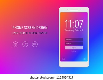Mobile phone screen UI design mockup with abstract purple, blue gradient design and vector flat icons. Login application interface with login form window.  Clean flat web icon set with frames.