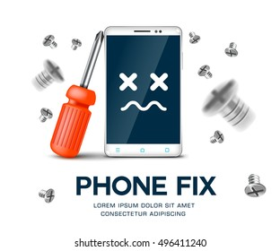 Mobile phone with screwdriver fix phone service. Vector illustration