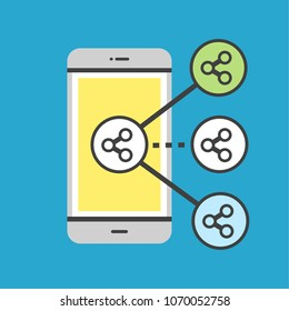 Mobile phone with share icon of social networking connection.Vector illustrator social media concept.