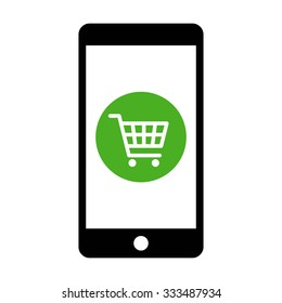 Mobile phone shopping or online shopping with cart flat vector icon for apps and websites
