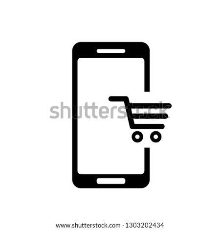 9e05bc1f939 Mobile phone shopping or online shopping with cart flat vector icon for  apps and websites