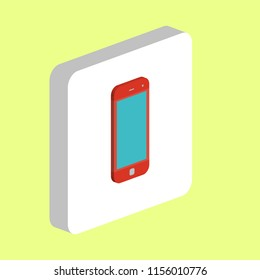 Mobile Phone Simple vector icon. Illustration symbol design template for web mobile UI element. Perfect color isometric pictogram on 3d white square. Mobile Phone icons for your business project