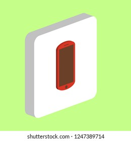 Mobile Phone Simple vector icon. Illustration symbol design template for web mobile UI element. Perfect color isometric pictogram on 3d white square. Mobile Phone icons for you business project