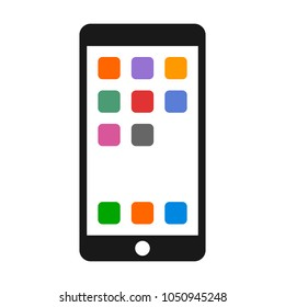 Mobile phone / smartphone with a bunch of colorful apps on screen flat vector color icon
