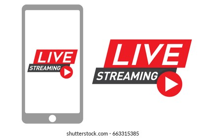 Mobile Phone, Smartphone with Live Streaming icon. Live video streaming vector. Social media and internet marketing concept.