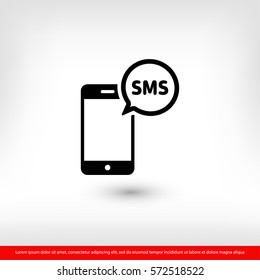 Mobile phone sms icon. One of set web icons