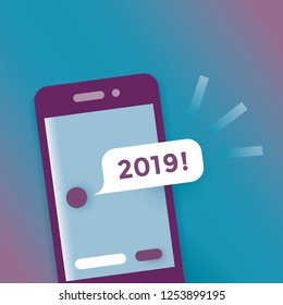 Mobile phone with sms message 2019! Idea - Holidays congratulations, surprise, Christmas and New Year eve, social networking, technology, talking, online chats, talking