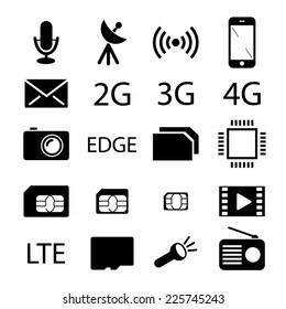 Mobile phone specification black icons. Vector collection
