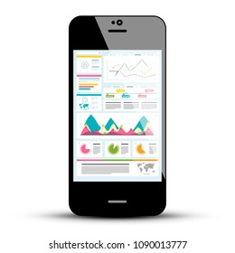 Mobile Phone with Statistics Application. Vector Cellphone Symbol with Web Page on Screen. Business Icon.