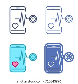 Mobile phone with stethoscope and heartbeat symbol. Vector outline icon set. Telemedicine concept line symbols and pictograms. Thin contour infographic elements for web design, presentations, network