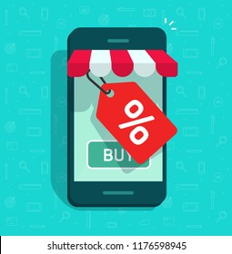 Mobile phone store and sale tag vector illustration, flat cartoon smartphone internet online shop with discount offer, cellphone digital shop with coupon special sale label
