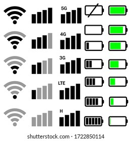 Mobile phone system icons vector set. Wifi signal strength illustration sign collection. battery charge level symbol.
