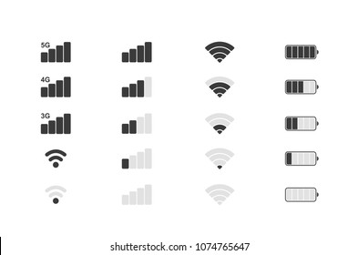 Mobile phone system icons. Wifi signal strength, battery charge level. Vector illustration