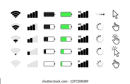 Mobile phone system icons. Wifi signal strength, battery charge level, loading, download, cursor. Vector illustration