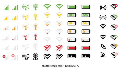 Mobile phone system icons Wireless wifi signal strength battery charge level energy charge mobile signal level icon vector eps symbol wireless network wifi sign remote access and communication radio