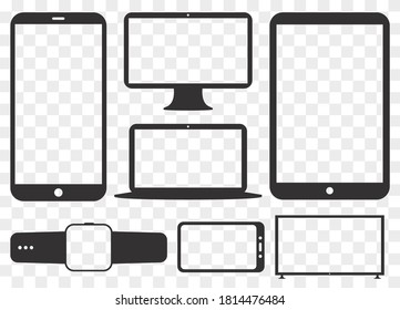 Mobile Phone, Tablet PC, Computer Monitor, Laptop Screen and Smart Watch Silhouette Vector Icon Set. Transparent and Flat Icons for Digital Devices.
