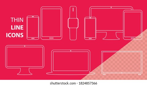 Mobile Phone, Tablet PC, Computer Monitor, Laptop Screen and Smart Watch Vector Line Icon Set. Transparent Line Art Illustrations for Digital Devices.