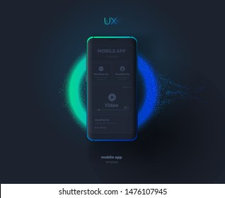 Mobile phone template. Mobile phone with a mockup of a mobile application on the background of a flash of light. Ultraviolet. Modern vector illustration. Abstract background.