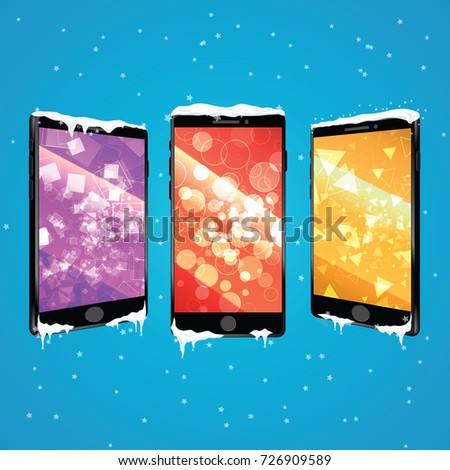 mobile phone templates in winter theme phone gift with icicles and snow caps new