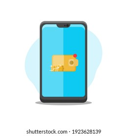 a mobile phone vector illustration decorated with mobile digital wallet app vector illustration elements