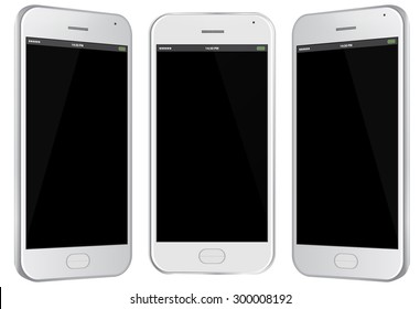 Mobile Phone Vector Illustration with different views.
