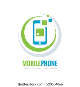 Mobile phone vector logo template concept illustration. Smartphone creative sign. Modern technology. Cellphone symbol. Tablet PC icon. Design element.