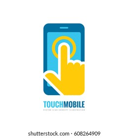 Mobile phone vector logo template concept illustration. Smartphone creative sign. Cellphone symbol. Touch pad technology. Tablet PC icon. Design element.