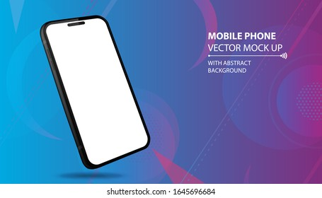 Mobile Phone Vector Mockup With Perspective View. Black Smartphone Isolated on Blue Geometric Background.