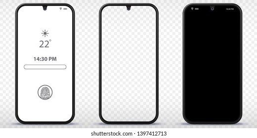 Mobile Phone Vector Mockup With Transparent, Black and Lock Screen