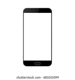 Mobile phone  with white screen. Smartphone with cameras and menu button vector eps10. Front view smartphone black color with empty screen