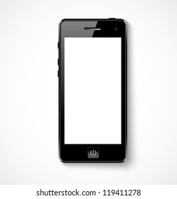 Mobile phone with white screen. Vector illustration