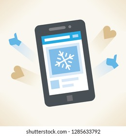 Mobile phone with winter showflake photo and social network feedback on screen - love heart symbols, and new article likes and appreciations.