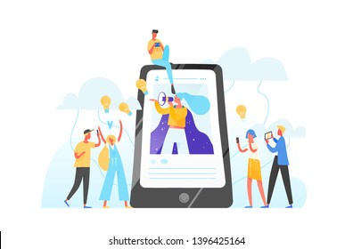 Mobile phone, woman with megaphone on screen and young people surrounding her. Influencer marketing, social media or network promotion, SMM. Flat vector illustration for internet advertisement.