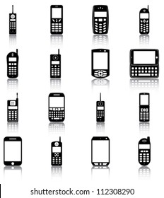 Mobile phones - 16 icons/ silhouettes of retro and modern mobile phones.