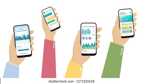 Mobile Phones in Hand With Different Screens