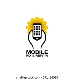 Mobile phones repair service logo. Wrench holding smartphone with sun gear background shape