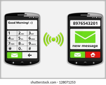 Mobile phones with SMS, vector eps10 illustration