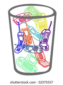 Mobile Phones in a Trash Can - Vectors