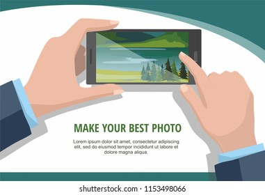 Mobile photography concept. Man looking photos of nature landscape to phone. Isolated on white background.  Vector Illustration
