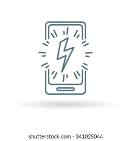 Mobile power charge icon sign. Smartphone power charge symbol. Thin line icon on white background. Vector illustration.
