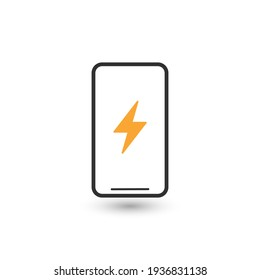 Mobile power charge lightning electric icon sign. Smartphone power charge symbol. Thin line icon on white background.
