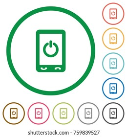 Mobile power off flat color icons in round outlines on white background