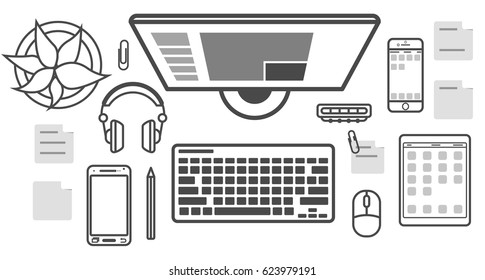 Mobile programming isolated icon set vector illustration. Desktop computer, smartphone, tablet, headphones. Mobile application development, smartphone apps coding, software testing and debugging.