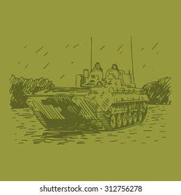 The mobile reconnaissance point. Russian BMP. Designed for reconnaissance and target missile and artillery systems. Vector freehand pencil sketch.